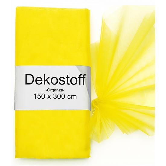 Organza stof geel op rol 150 x 300 cm