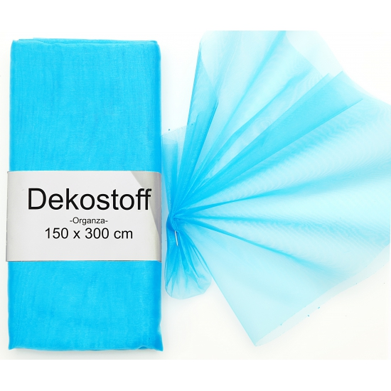 Organza stof turquoise op rol 150 x 300 cm