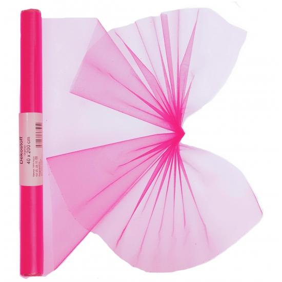 Organza tule rol neon roze 40 x 200 cm