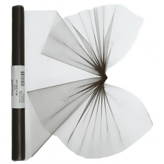 Organza tule rol zwart 40 x 200 cm