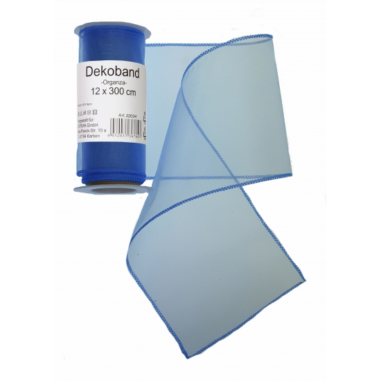 Organza tule strook blauw 12 x 300 cm