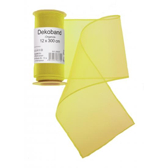 Organza tule strook geel 12 x 300 cm