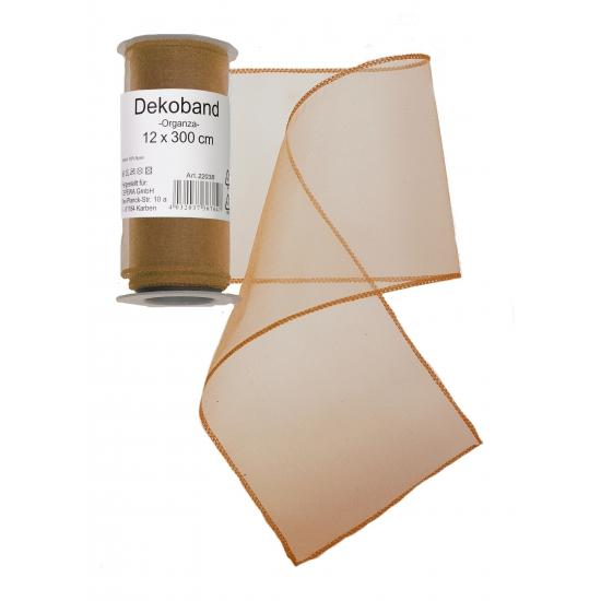 Organza tule strook goud 12 x 300 cm