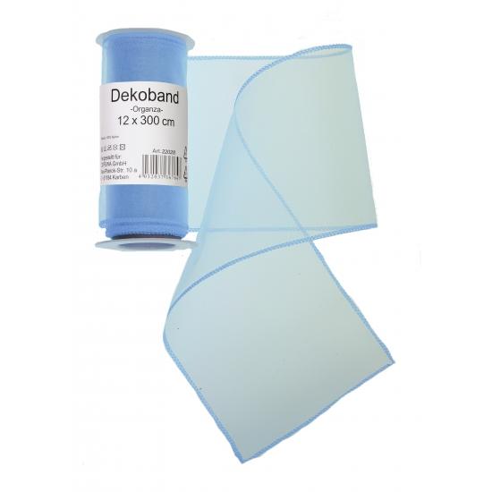 Organza tule strook lichtblauw 12 x 300 cm