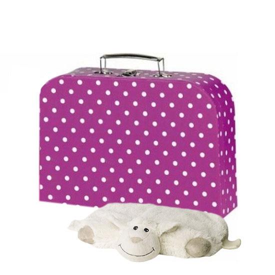 Ouderwetse reiskoffer roze met stippen 30 cm