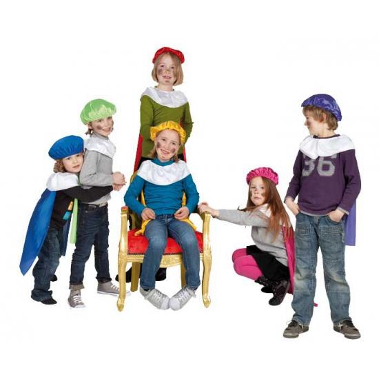 Paarse pieten baret en cape voor kinderen