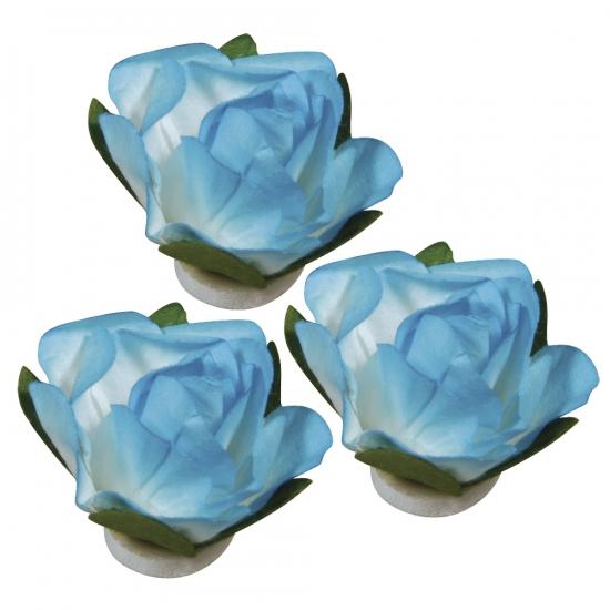 Papieren deco bloemen turquoise 1, 5 cm