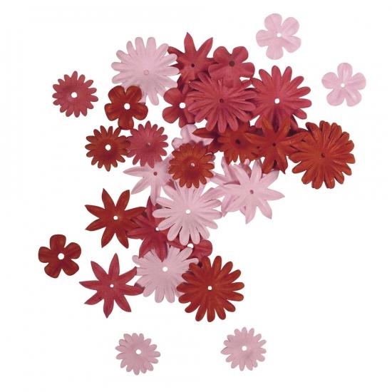 Papieren hobby bloemen rood/roze 36 stuks
