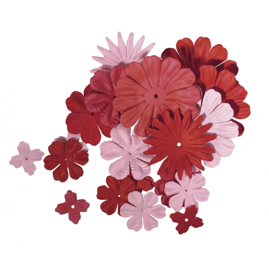 Papieren hobby bloemen rood/roze