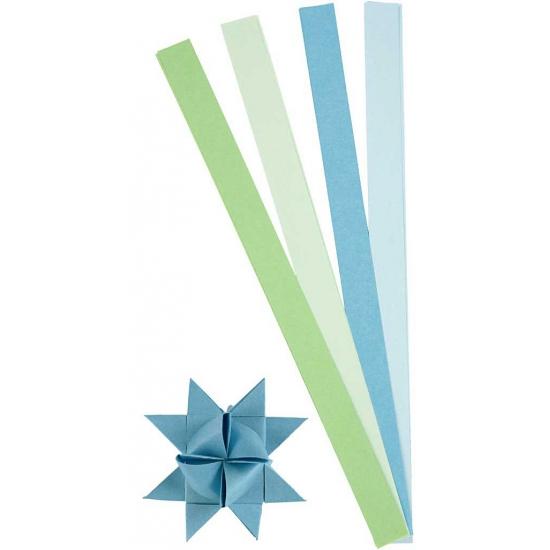 Papieren stroken blauw/groen 100 stuks