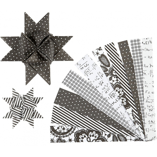 Papieren stroken zwart/wit 60 stuks