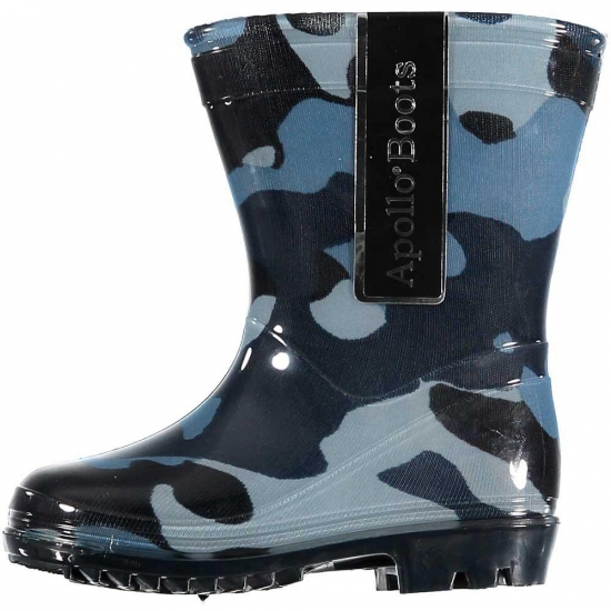 Peuter regenlaarzen met camouflage print blauw