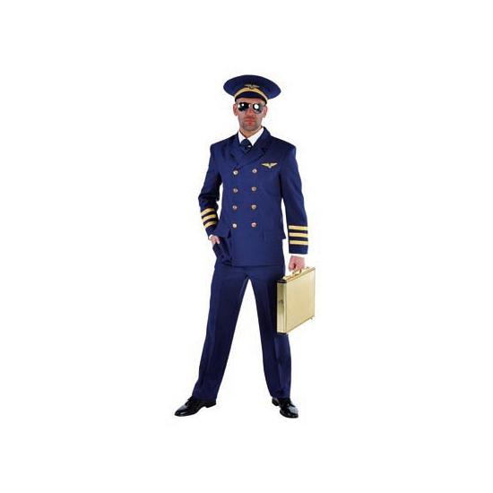 Luxe heren piloten kostuum blauw