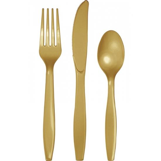 18 delig plastic bestek goud
