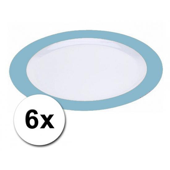 Plastic diner borden blauw pakket 6 stuks