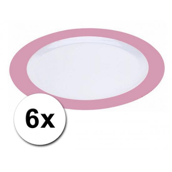 Plastic diner borden roze pakket 6 stuks