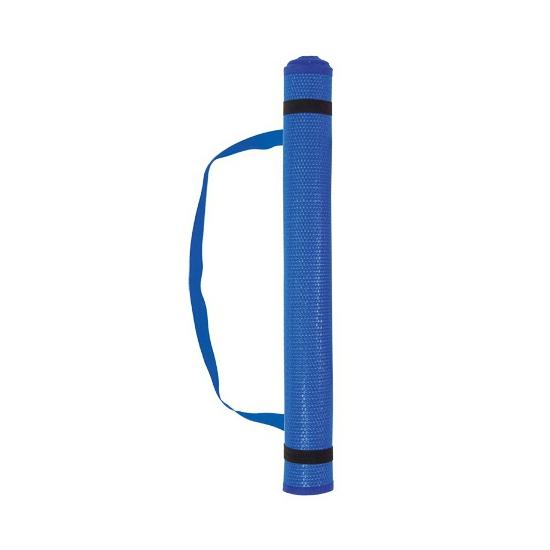 Plastic strandmat met kussen blauw