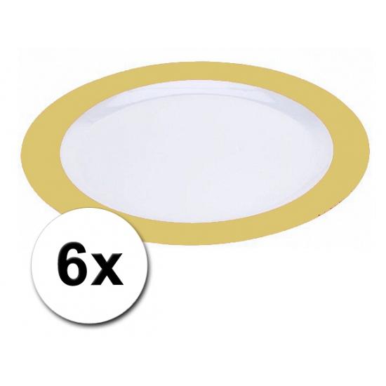 Platte plastic borden geel 6 stuks