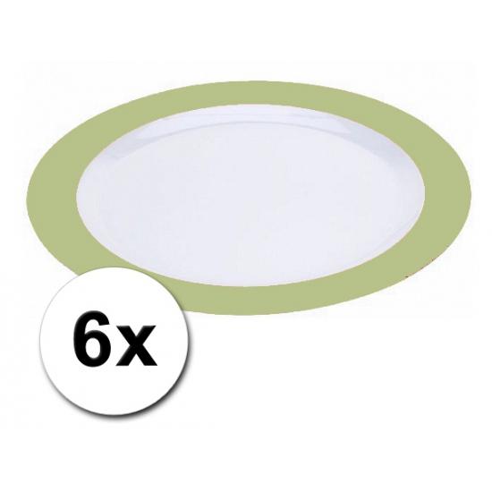 Platte plastic borden groen 6 stuks