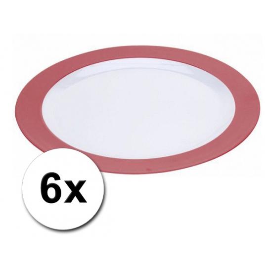 Platte plastic borden rood 6 stuks