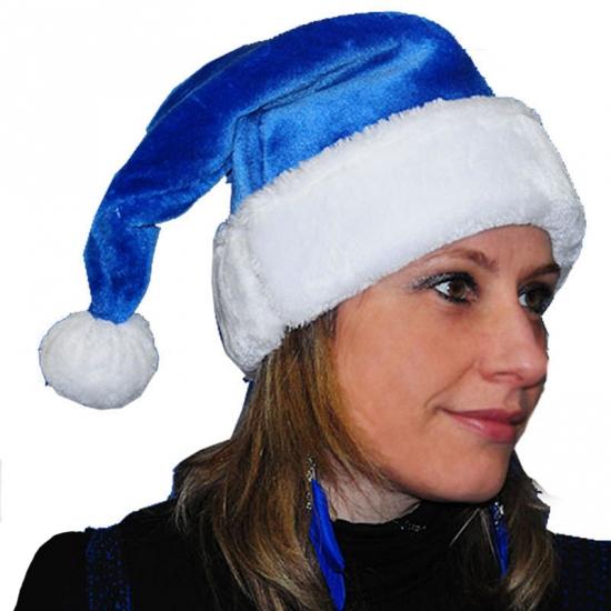 Pluche kerstmuts blauw
