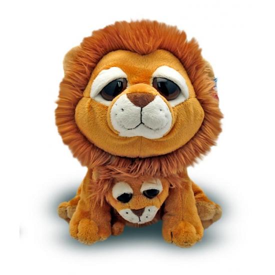 Pluche leeuw met baby 25 cm