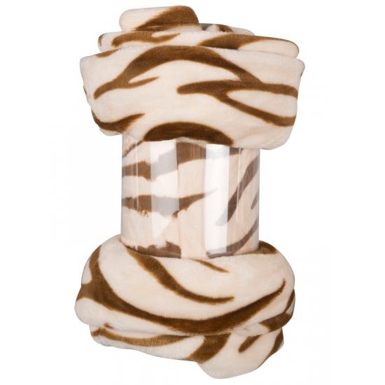 Polyester deken beige zebra print