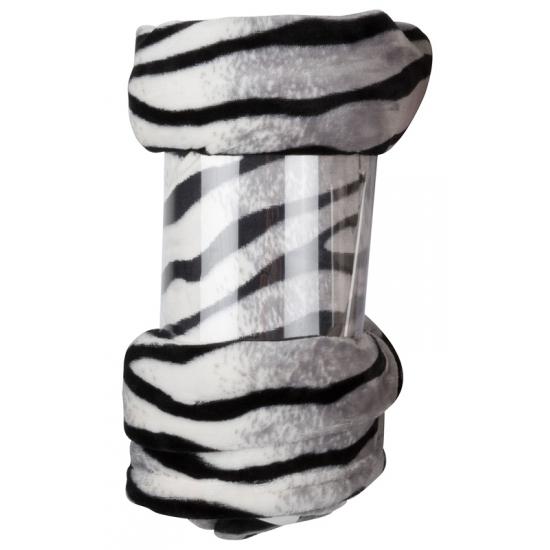 Polyester deken witte zebra print