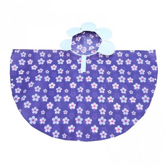 Regenponcho paars met bloemen van polyester