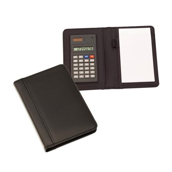 Rekenmachine met notitieblokje zwart