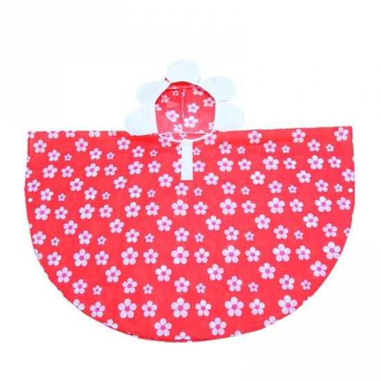Rode bloemen poncho voor meiden