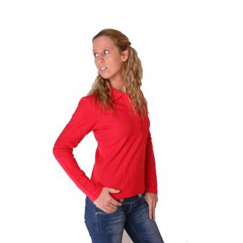 Rode dames poloshirt lange mouw