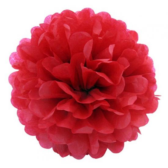 Rode decoratie pompom 35 cm