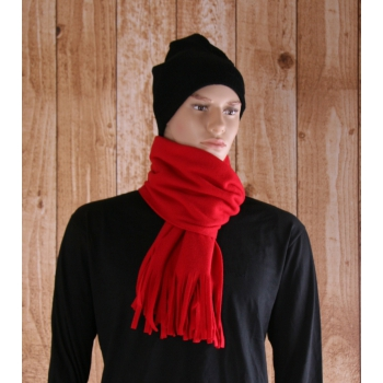 Rode fleece sjaals met franjes