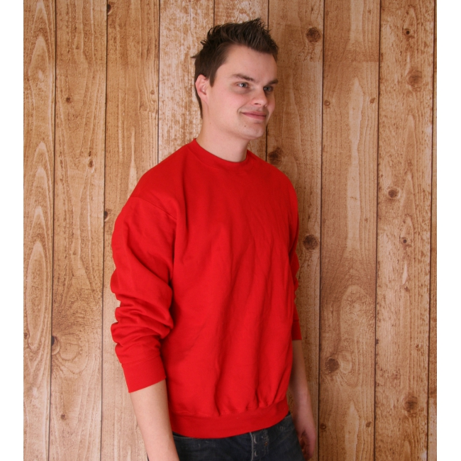 Rode Fruit of the Loom sweater ronde hals