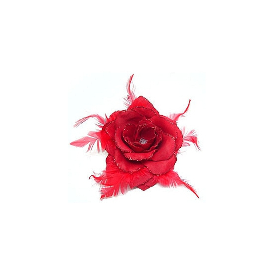 Rode glitter roos accessoire