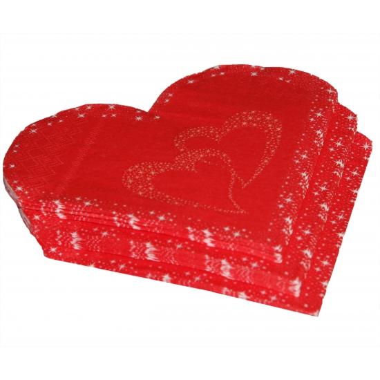 Rode hartjes servetten 20 stuks