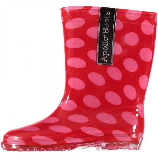 Rode kinder regenlaarzen met roze stippen