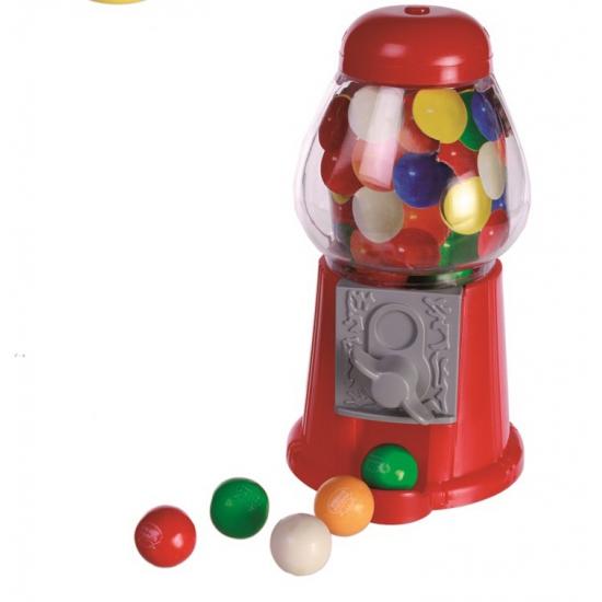 Rode mini kaugomballen automaat van plastic 13 cm