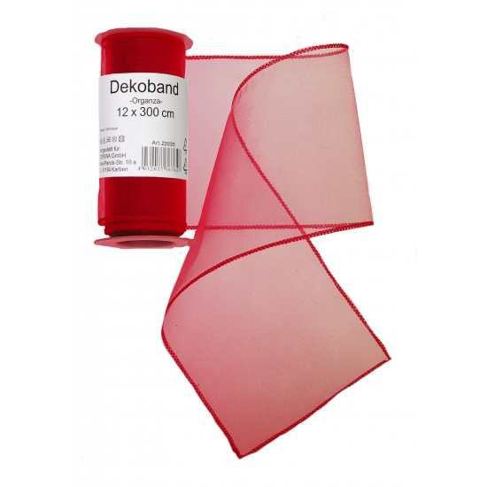 Rode organza strook 12 x 300 cm
