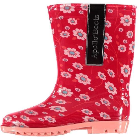 Rode peuter regenlaarzen met bloemetjes