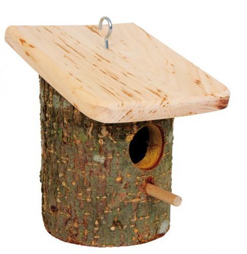 Rond vogelhuisje boomschorsm met plat dak