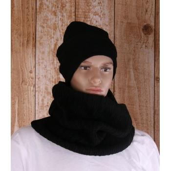 Gebreide zwarte col sjaal