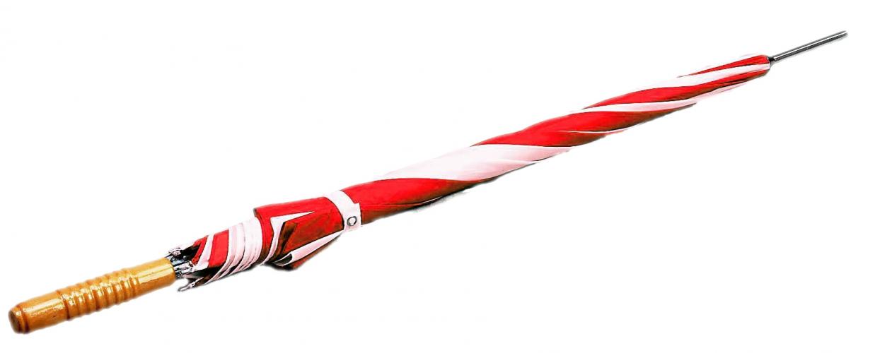 Rood met witte paraplu met houten handvat