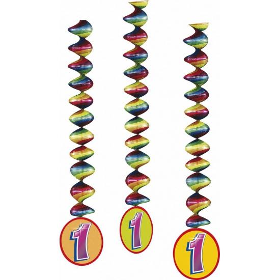 Versiering 1 jaar feest spiralen 3x
