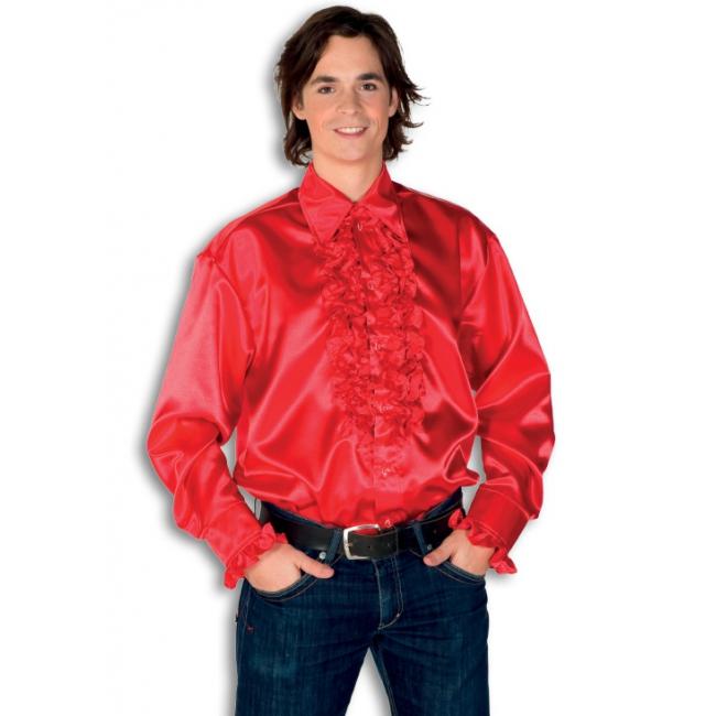Rode heren rouche overhemd