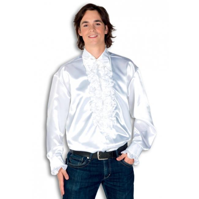 Witte heren rouche overhemd