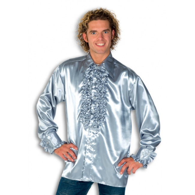 Rouche overhemd voor heren zilver