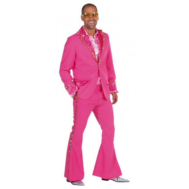 Luxe roze glitter kostuum heren