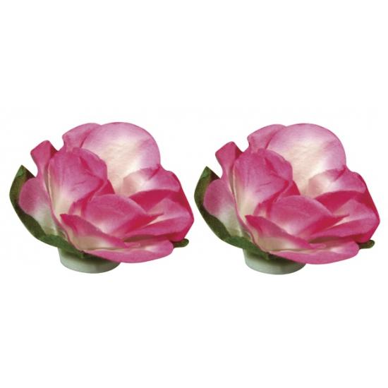 Roze bloemetjes van papier 1,5 cm